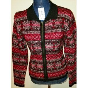 156 Preowned S Red/Black/white wool knit zip cardi